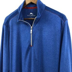 Tommy Bahama Blue 1/4 Zip Pullover Sweater Large